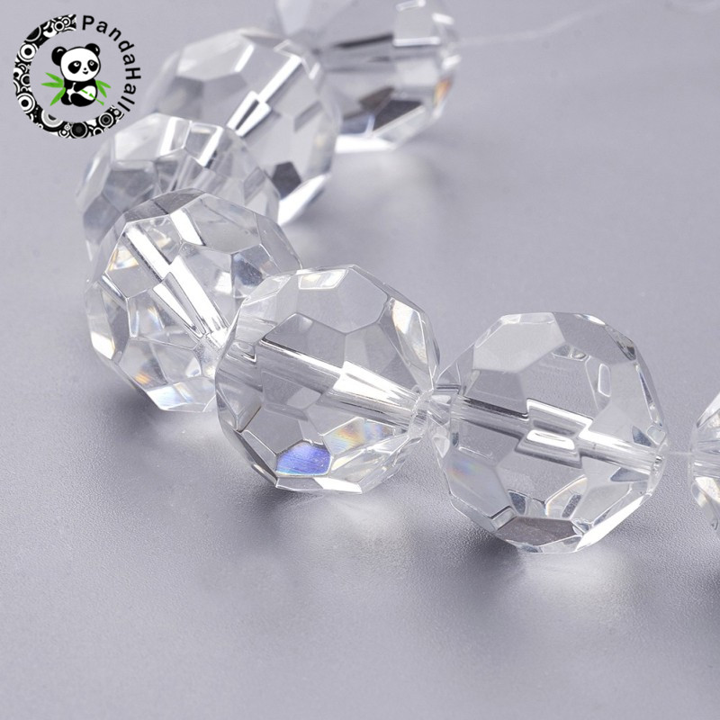 6mm 8mm 10mm 12mm 18mm 20mm Faceted Glass Round Beads Clear for Jewelry Making