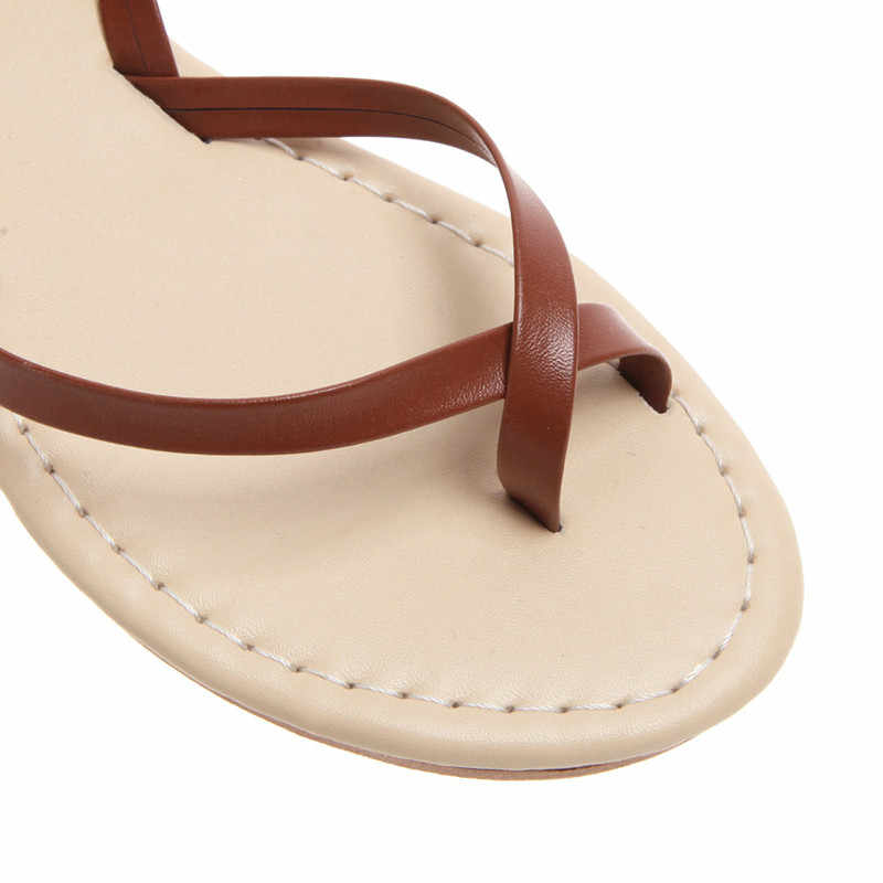 Sandalias mujer gladiador Sandalias planas Cruz tobillo plano verano playa zapatos más tamaño Vintage señoras Sandalias zapatos de mujer