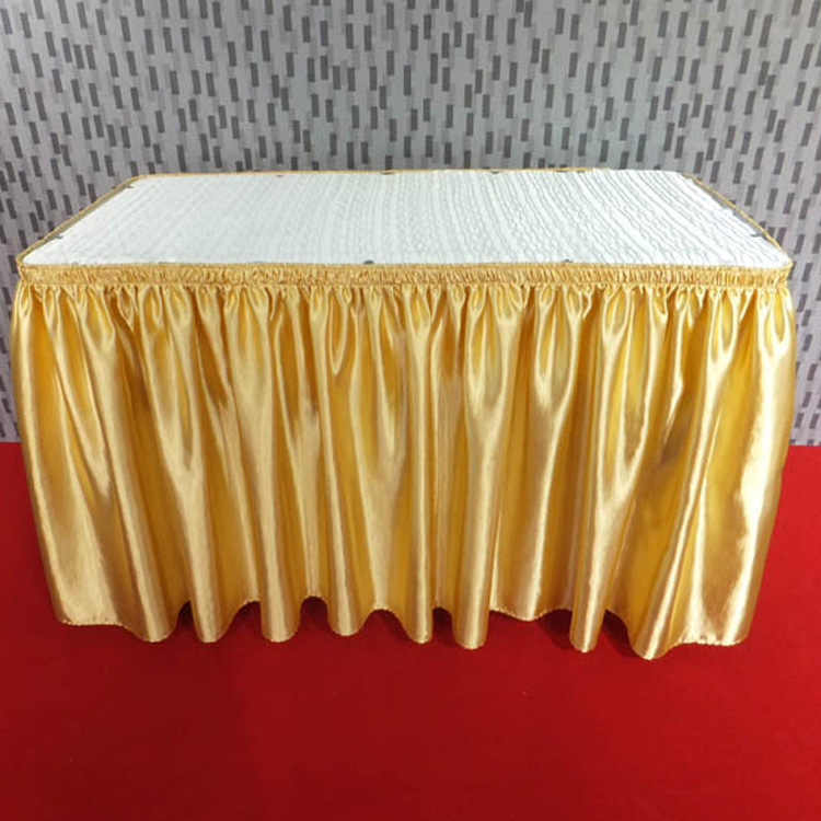 Gold Satin Hotel Table Skirting Wavy Design For Weddings,banquets In  Tablecloths From Home U0026 Garden On Aliexpress.com | Alibaba Group