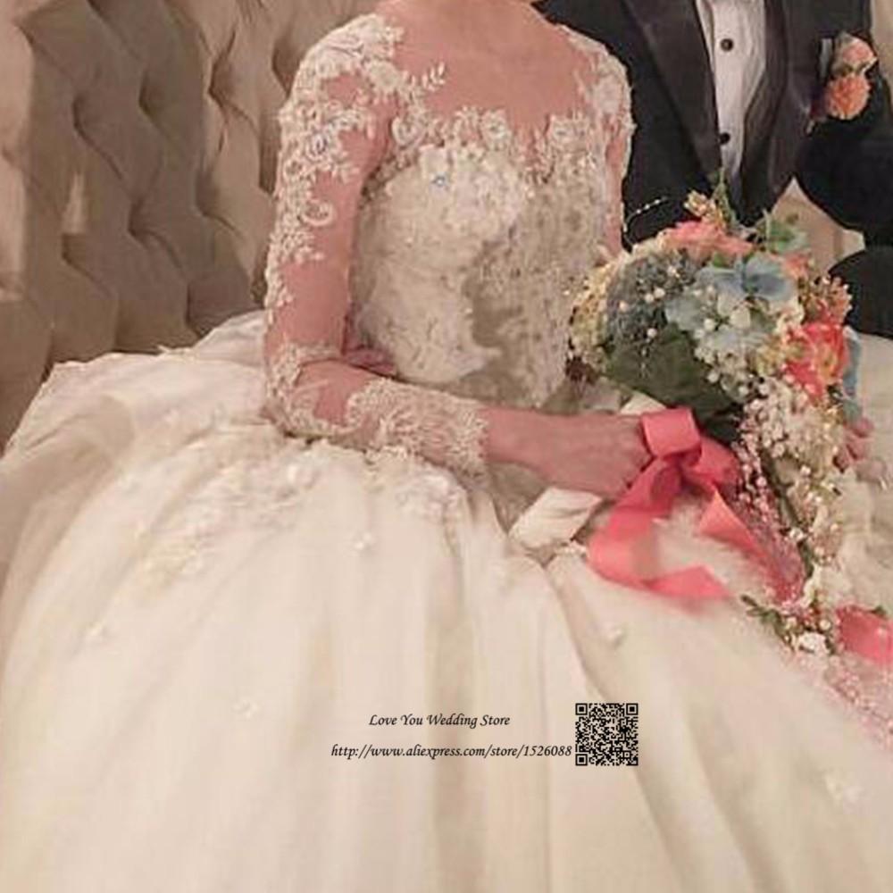Vestido de Noiva Princesa Luxo 2017 Ball Gown Wedding Dresses Court Train  Vintage Bride Dress Long Sleeve Wedding Gowns Lace 6316a6b18c9e