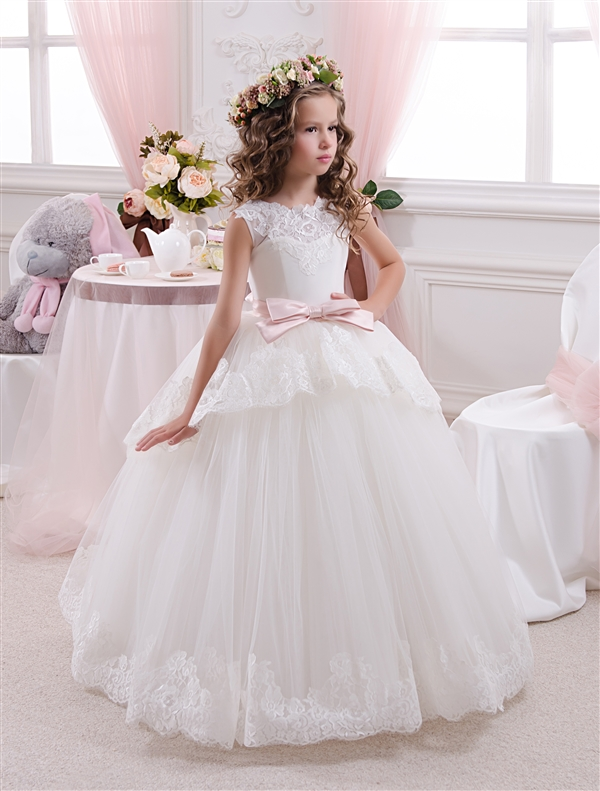 2017   flower   lace ball gown Floor Length   Flower     Girl     Dress   For Wedding Holy the first communion gown Bow Back