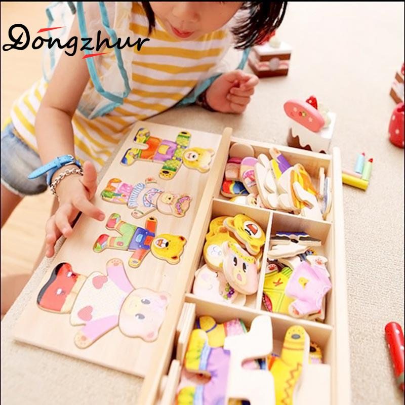 Dongzhur Bear/rabbit Wood Baby Puzzle Children's Bear Change Clothes Boy&girl Puzzle 3D Jigsaw Puzzle Toy 0-7 Years Children Toy paddington bear page 7