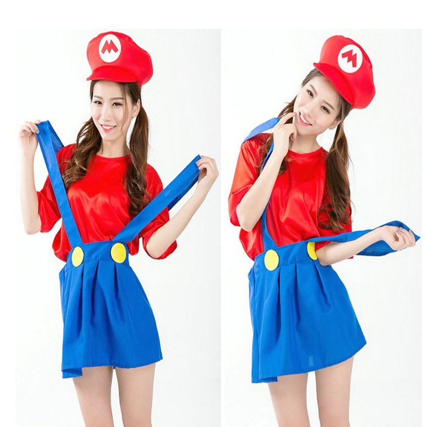 2016 halloween adult womens cosplay costumes super mario luigi brothers plumber women party costume clothes hat - Girl Mario And Luigi Halloween Costumes