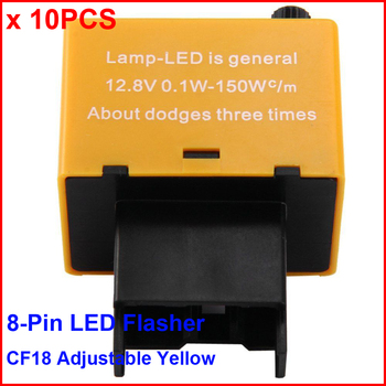 10PCS CF18KT LED Flasher 8 Pin Adjustable Yellow Relay Car Fix Auto Turn Signal Error Flashing Blinker 81980-50030 06650 150W