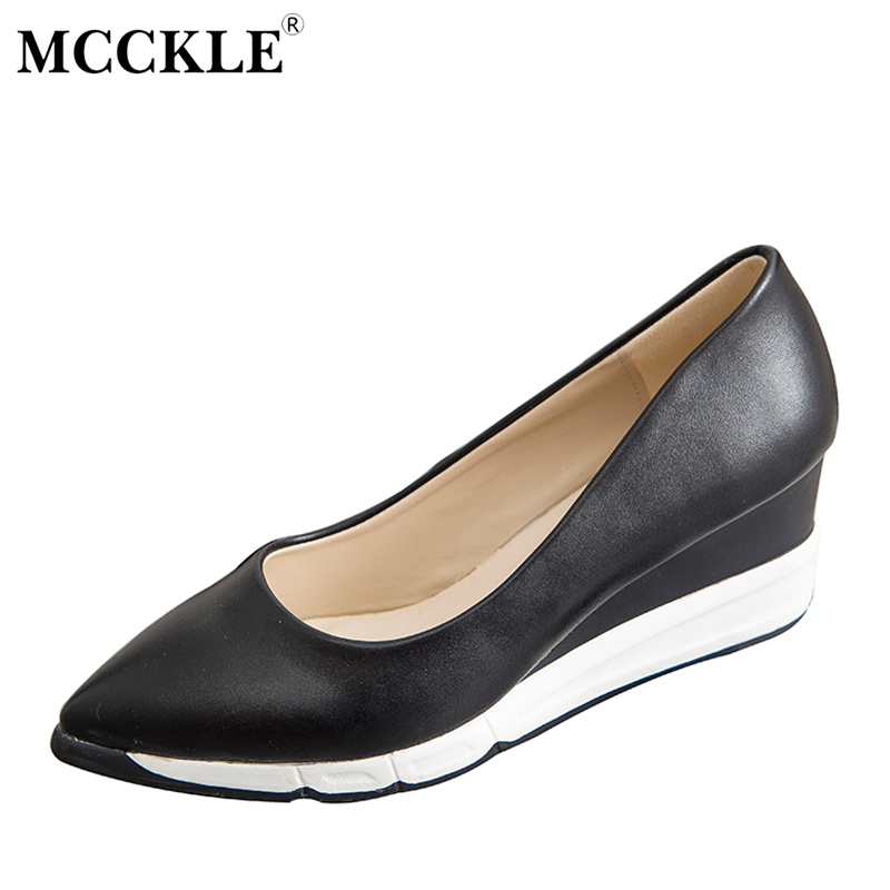 MCCKLE Woman Fashion Wedges Shoes Platform Leopard Comfortable Pointed Toe Slip On Casual Sexy Black Vogue Women's Style Shoes mcckle 2017 fashion woman shoes flat women platform round toe lace up ladies office black casual comfortable spring