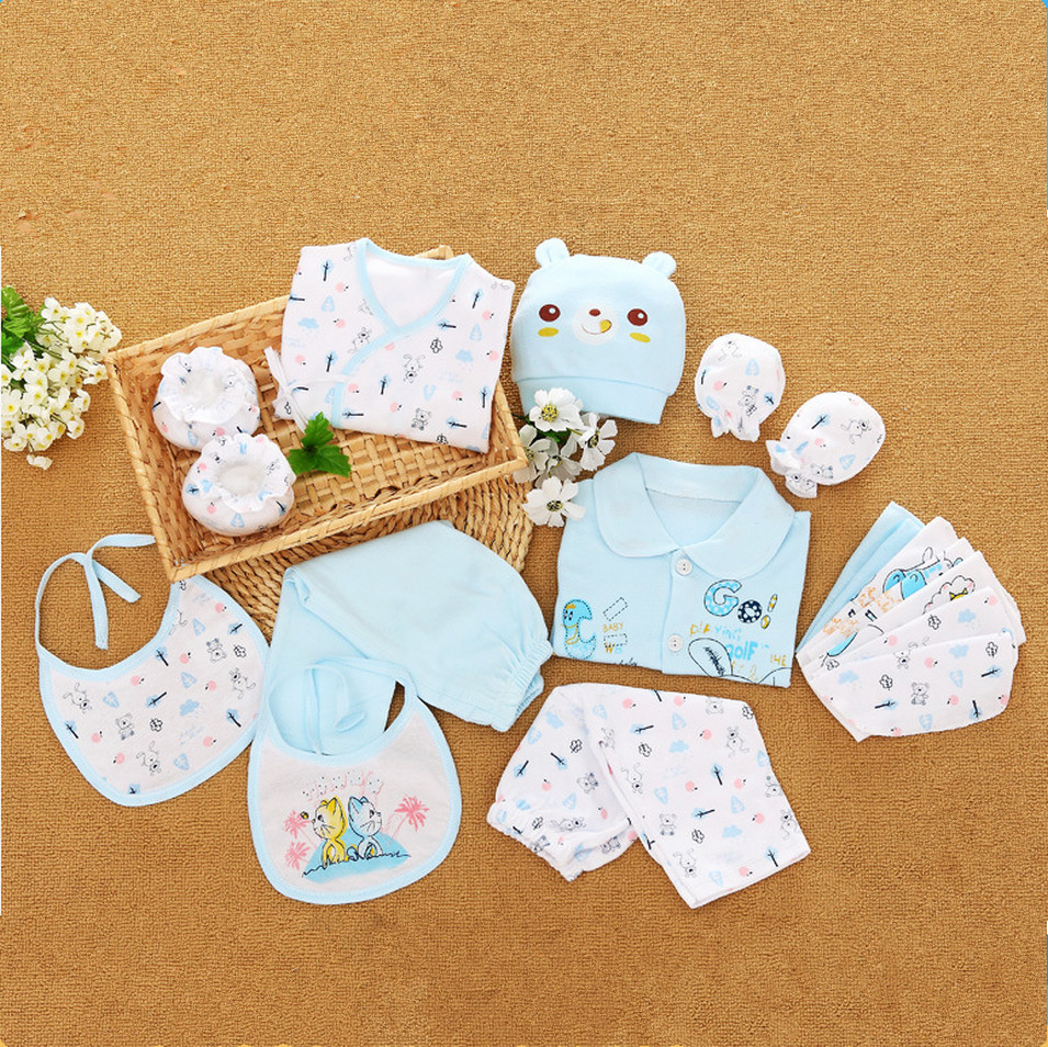 18 pieces Newborn Baby Clothing Set Infant 100% Cotton Character Underwear Suits Neonatal Gift Set For Spring Autumn 16 pieces set newborn baby clothing set underwear suits 100% cotton infant gift set full month baby sets for spring