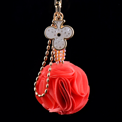 Car fabric flower ball keychain key chain women s gift cute bags hangings 19ce92bd8