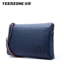 Teemzone Men Cowhide Clutch Bags Genuine Leather Wallet Business Casual Man Purse Men's Handbag Brand Mens Wallets Free Shipping