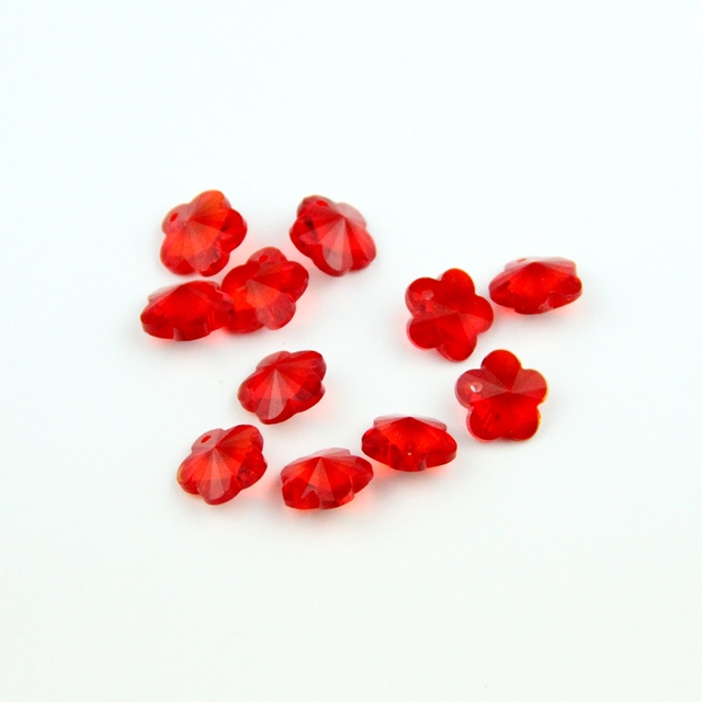Diy Parts 100pcs 14mm Red Chandelier Crystal Bead Door/ Window Crystal Plum Flower Beads In 1 Hole Home Decoration Accessories