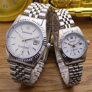 Image 3 - レジナルドクラウンクォーツ男性レディース腕時計ビジネスカジュアルメンズ鋼カレンダー日本防水カレンダーハイトクォーツ腕時計