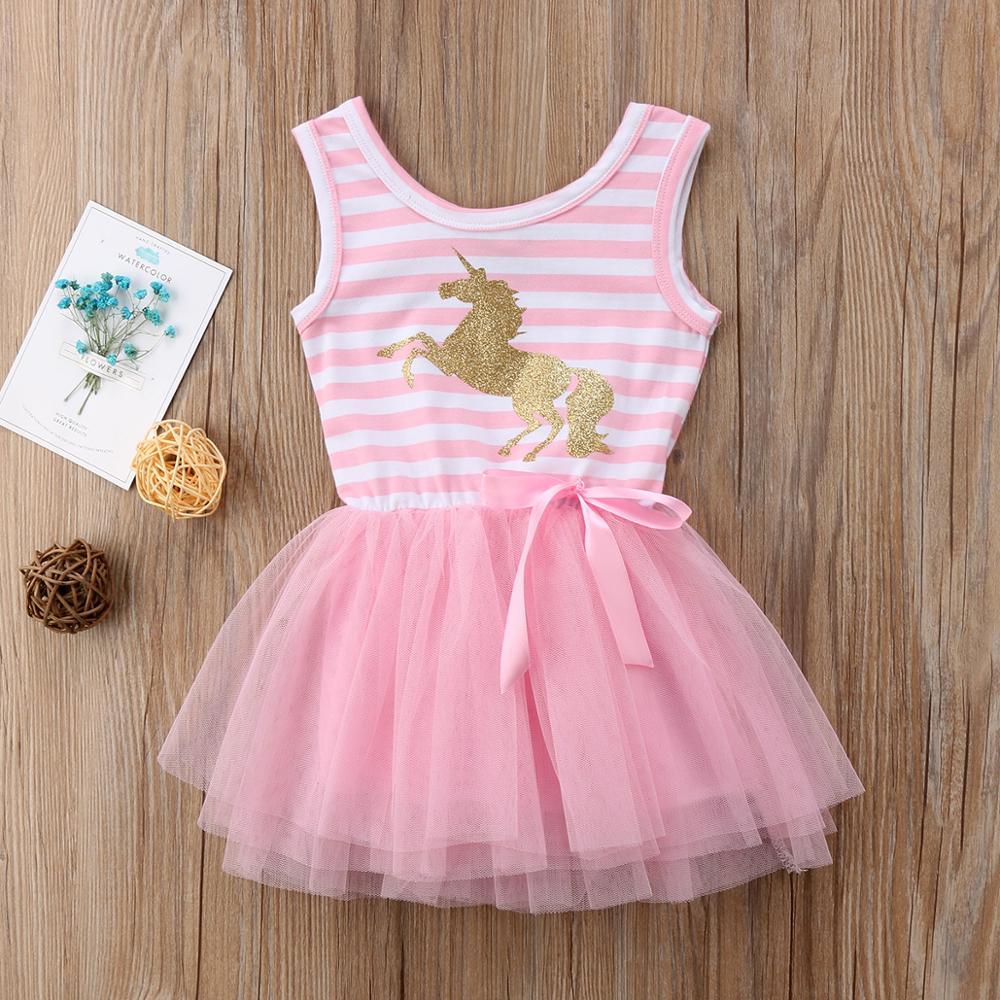 AmzBarley Little Girl Unicorn Dress Party Wedding Tutu Dress Summer Sleeveless Striped Pink Mesh clothing Cotton mesh dress in Dresses from Mother Kids