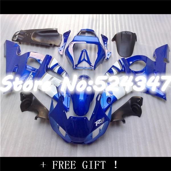 Hey-kit de carénage ABS haute qualité pour YZF-R6 1998-2002 noir bleu YZF R6 carénages carrosserie ensemble 98 99 00 01 02 pour Yamaha