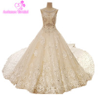 Luxury Lace Champagne Wedding Dress Gown Amazning Beads Ball Gown Heavy Dresses Big Skirt Bridal Wedding