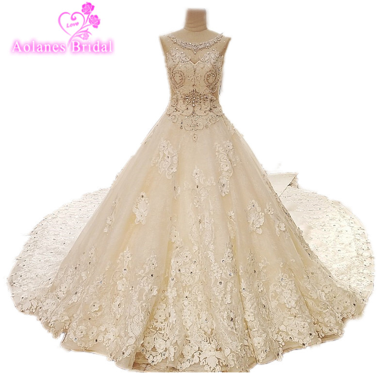 Luxury Lace Champagne Wedding Dress Gown Amazning Beads Ball Gown Heavy Dresses Big Skirt Bridal Wedding Gown Vestido De Noiva