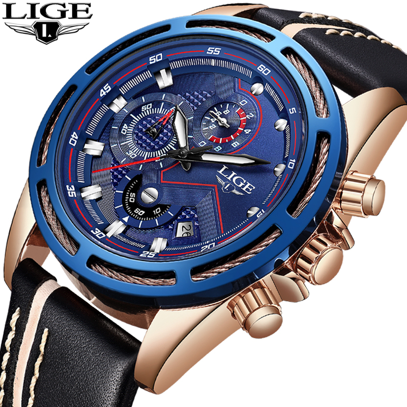 LIGE Official Quartz Men Watches Fashion Genuine Leather Chronograph Watch Clock for Gentle Men Male Students Reloj Hombre 2018 armiforce quartz men watches fashion genuine leather chronograph watch clock for gentle men male students reloj hombre