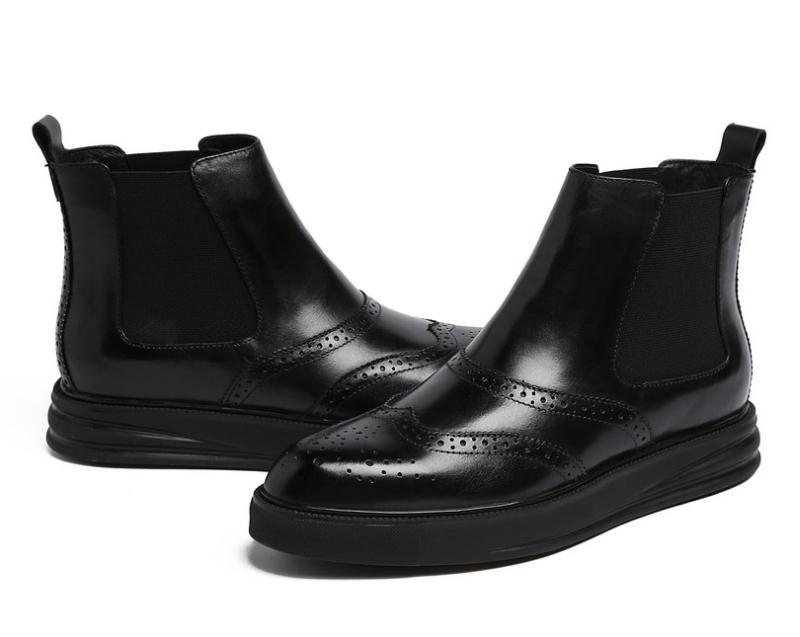 Sapatos Tornozelo Carving Brown Genuína red Botas Alta Dos Couro Mens Moda Qualidade Carreira De Vaca Homens Black Plataforma Tendência Nova Trabalho Projeto IZSXnw
