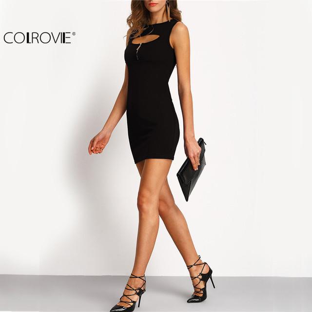 COLROVIE Summer Sexy Women's Black Cut Out Zipper Bodycon Short Dress Round Neck Sleeveless Sheath Mini Dress