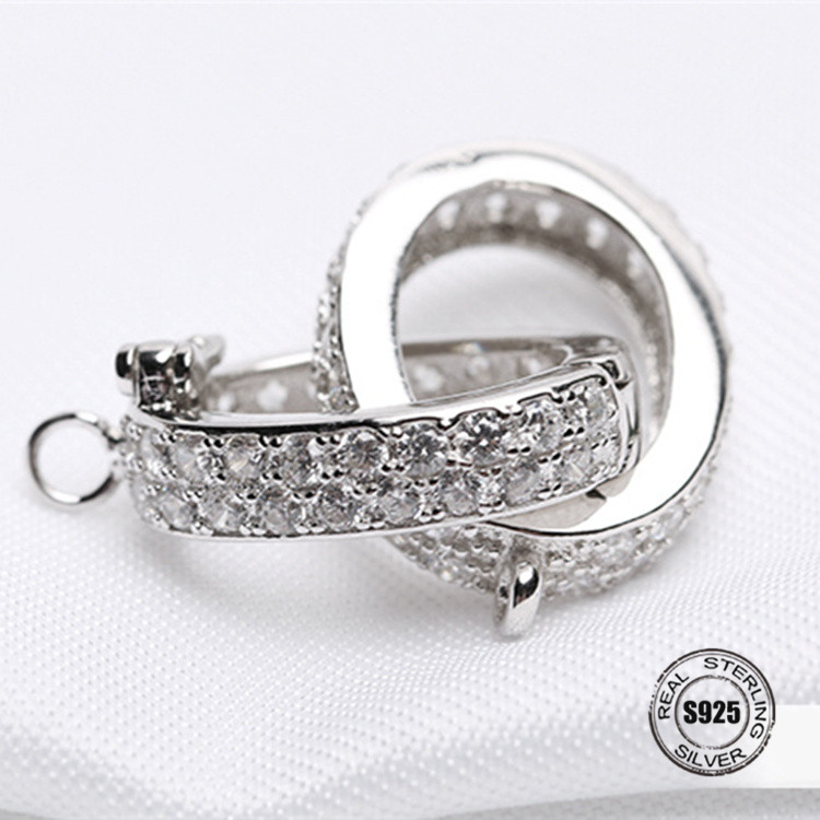 925 Silver/Clasps & Hooks/Connectors Jewelry Findings DIY Connectors/Cubic Zirconia/Necklace Bracelet Jewelry Making