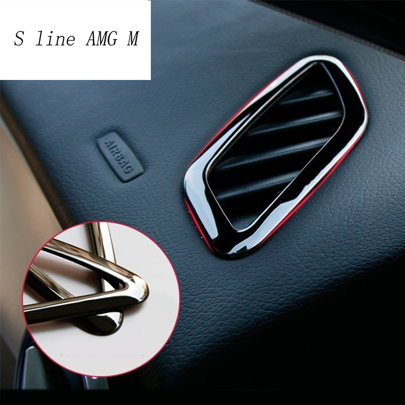 Car-styling Dashboard Air Conditioning Vent Cover Sticker Trim For Mercedes Benz CLA GLA A Class W117 C117 W176 X156 Accessories