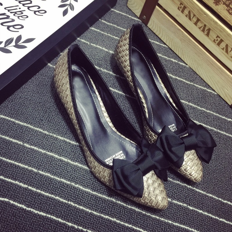 Sexy Pointed Toe Women's Low Heel Pumps Shoes Spring Autumn Vintage PU Bowtie Slip On Office Lady Single Shoes Females Shoes xiaying smile summer women sandals casual fashion lady square heel slip on flock shoes pointed toe cover heel lace bowtie shoes
