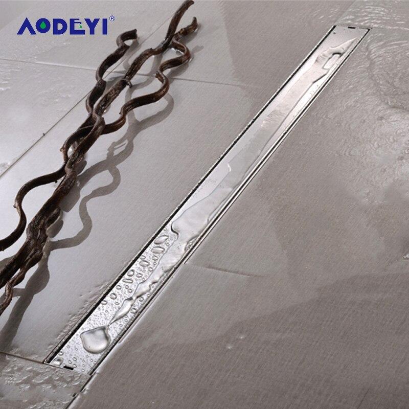 AODEYI 600 мм длинная полоса напольный слив 304 нержавеющая сталь неприятный запах с плиткой вставка решетка Невидимый душ слив матовый