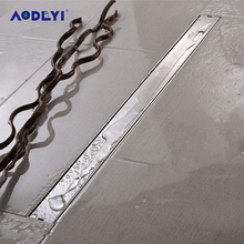 AODEYI 600mm Long Strip Floor Drain 304 Stainless Steel Odor resistant With Tile Insert Grate Invisible Shower Drain Brushed