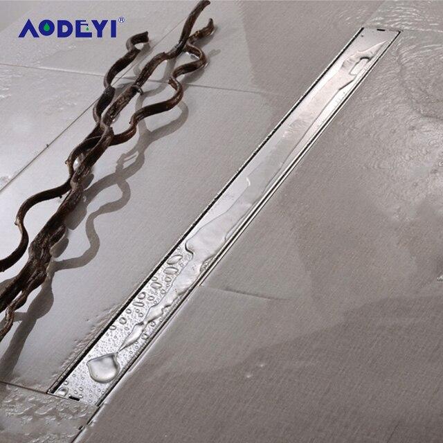 AODEYI 600mm długa taśma odpływ podłogowy 304 stal nierdzewna odporny na zapachy z płytką wstaw ruszt niewidoczny odpływ prysznicowy szczotkowany