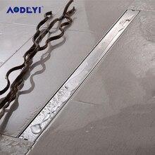 AODEYI Desagüe de suelo de tira larga, 600mm, acero inoxidable 304, resistente al olor, con inserción de azulejo, rejilla de ducha, cepillado de drenaje Invisible