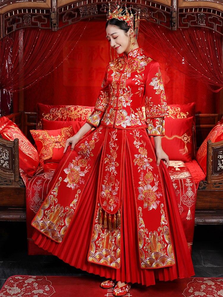 New Chinese Wedding Dress Bride's Wedding Dress Thickening Cheongsam and Crop Garment
