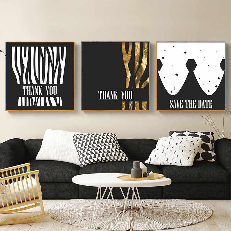 Black Gold Style Nordic Canvas Painting