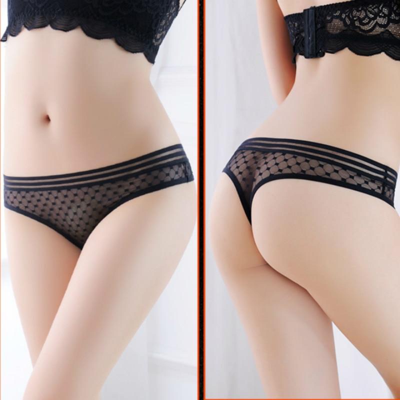 Solide Transparent maille sous-vêtements femmes taille basse chaud Sexy culottes femmes tongs et G String Femme respirant sans couture culotte