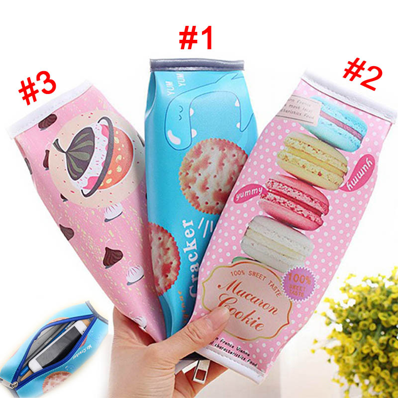 Fashion Novelty Spice Cookies Biscuit Snacks Pencils Case Creative Students Stationery P ...