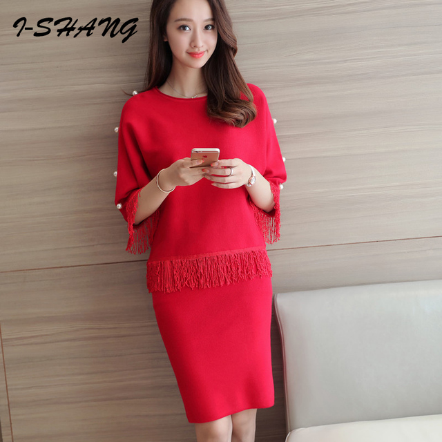 32a33368d09c Fashion Women Sweater Skirt Set Spring Autumn Tops+Short Skirts 2016 Slim  Long Sleeve Knitted Suit Twinset Women Clothing WS13