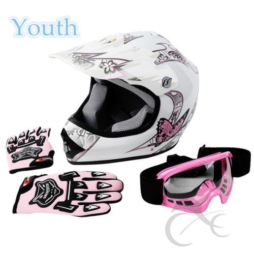 Casque vtt MX papillon rose jeunesse avec lunettes de Motocross + gants S/M/L