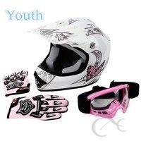 Jeugd Roze Vlinder Crossmotor ATV MX Helm W/Motocross Goggles + Handschoenen S/M/L