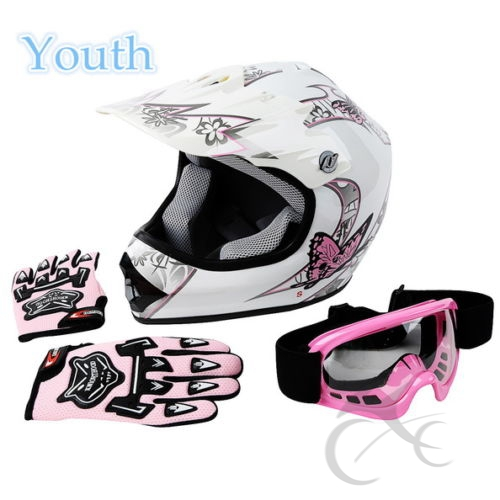 Youth Pink Butterfly Dirt Bike ATV MX Helmet W/ Motocross Goggles+Gloves S/M/L