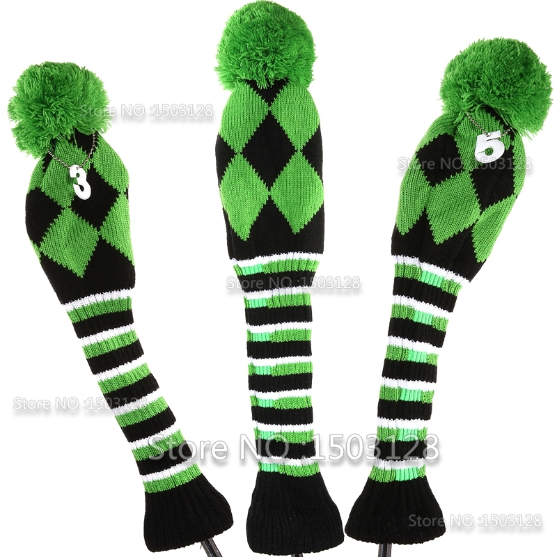 Golf Brand 3Pcs 1 # 3 # 5 # One Set Green Colour Wool Knit Clubs Golf set headcovers Huse inclue Driver 3 # 5 # Fairway wood