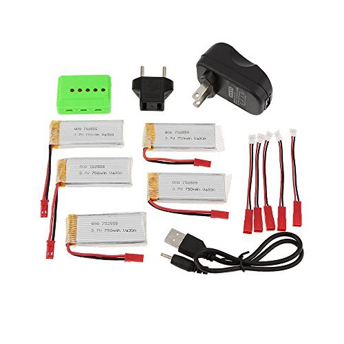ФОТО 5-port Fast Charger Sets w/ 3.7V 750mAh Lipo Battery & JST Charging Cable for RC Quadcopter JJRC H12C DFD F181 MJX X400