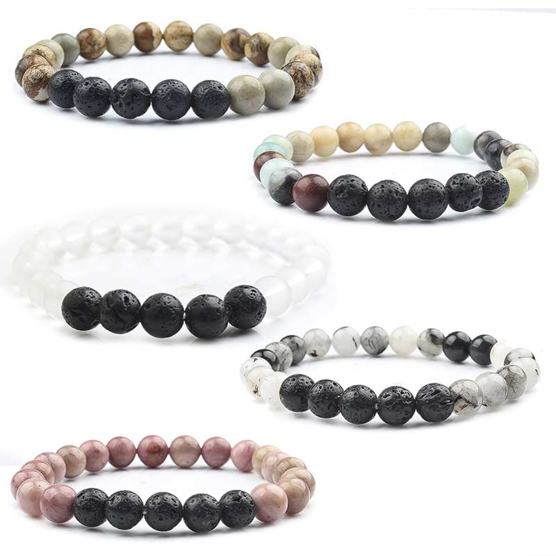Lingxiang Natural stone lava stone lava bracelet is suitable for lovers male and female wrist jewelry bracelet in Strand Bracelets from Jewelry Accessories