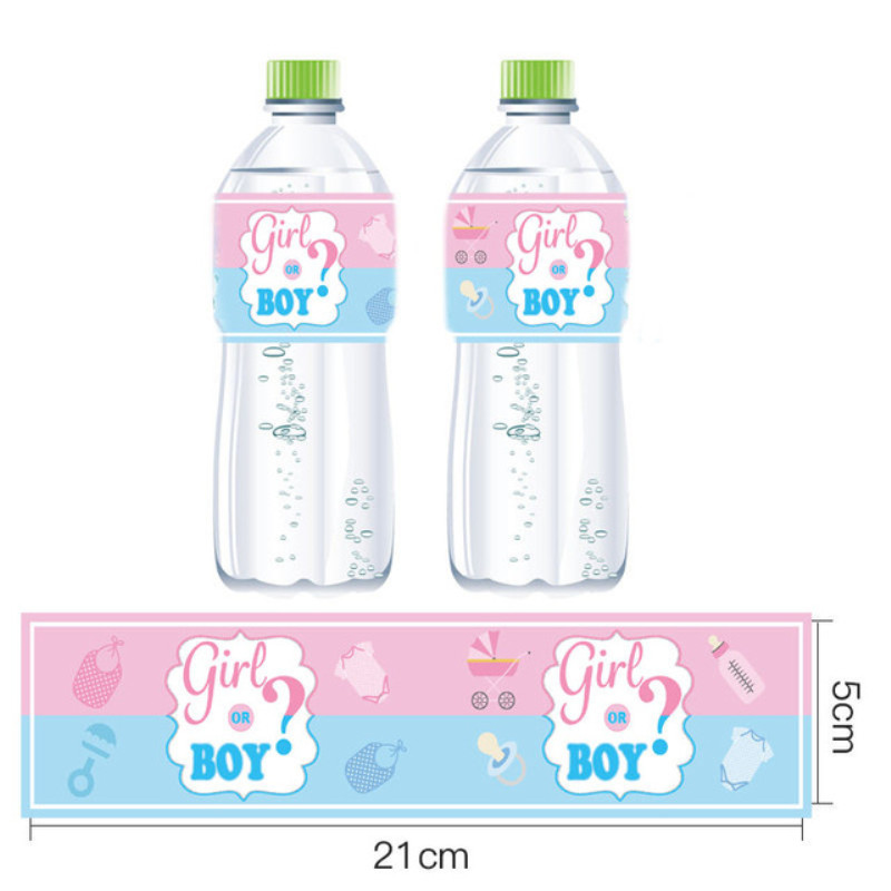 12pcs//set baby shower decor girl//boy mineral water bottle gift stickers label fq