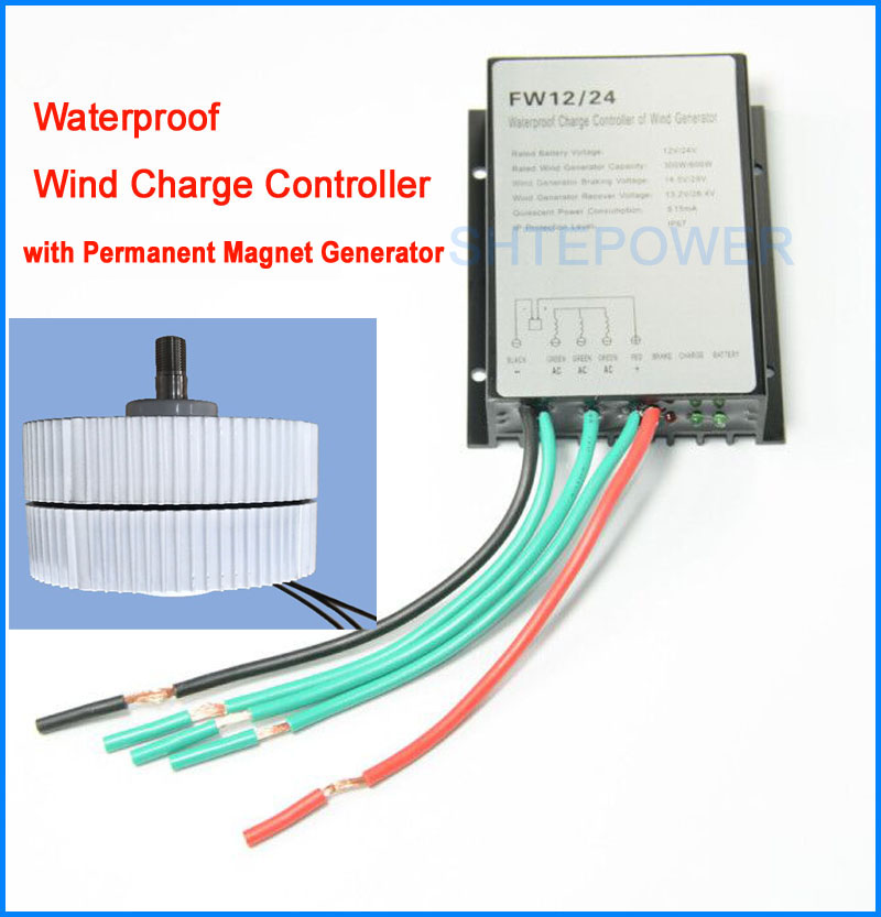 3 Phase 24V permanent magnet generator 400W wind turbines with 24V Waterproof Wind Turbine Generator Charge Controller