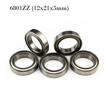 (10 PCS) 6801ZZ (12x21x5mm) Metal Shielded Ball Bearing Bearings 6801z 12*21*5 image