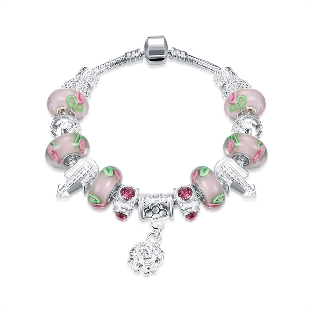 Pink Rose Authentic 925 Sterling Silver Sparkling Bracelet Fit Original Pandor Charm Bracelets Womens Accessories Jewelry 2018