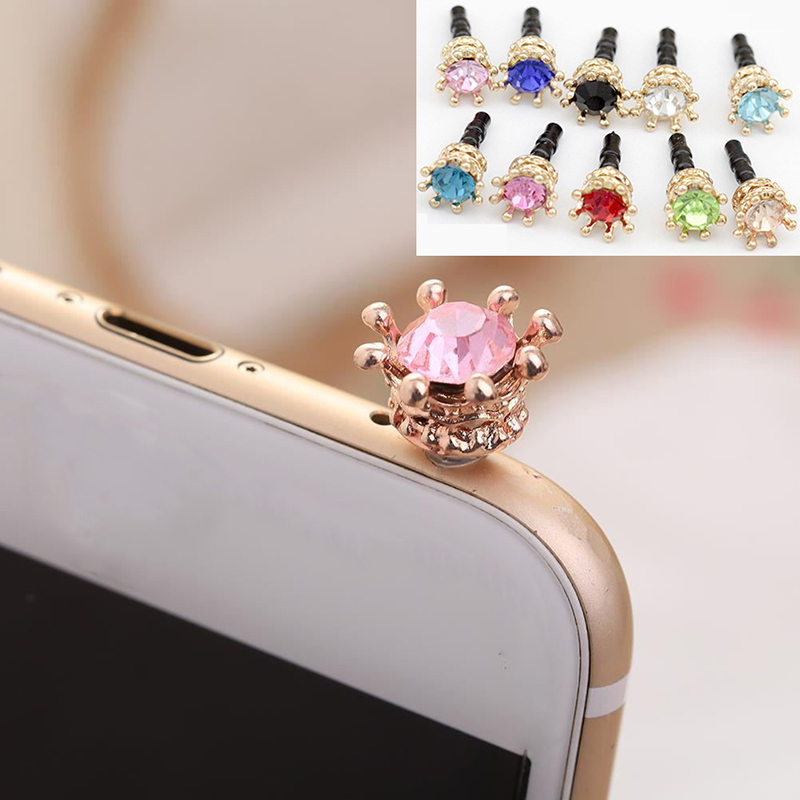 HTB174cBQFYqK1RjSZLeq6zXppXaC Mobile Phone Dust Plug Rhinestones Crown Anti dust Plug Diamond Pendant Sweet Cell Phone Accessories Charge Port Plug For iphone