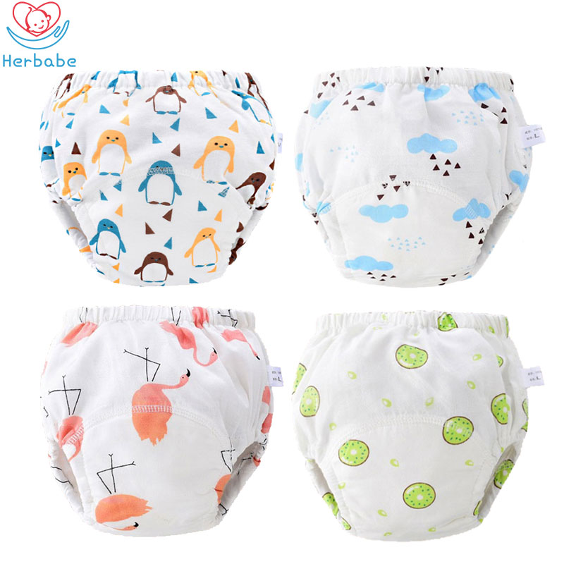 Herbabe Baby Toilet Training Pants 100% Cotton Reusable Baby Cloth Diapers 4 Layers Washable Infant Nappies Cover Learning Pants