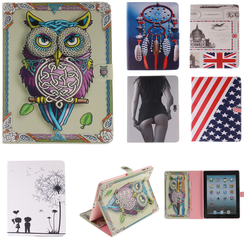 buy fashion tiger owl series style printed stand flip pu leather case for ipad. Black Bedroom Furniture Sets. Home Design Ideas