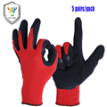 OZERO Nylon Working Glove Textured Rubber Latex Coated Garden Gloves For Construction,Repair,Kitchen
