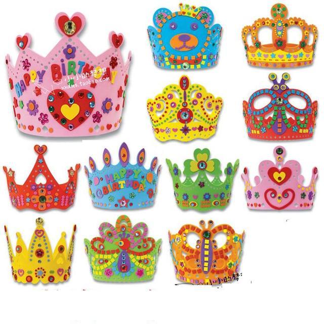 12 Pcs Lot Kids Self Adhesive Handmade DIY 3D Eva Crown Craft Kits EVA Birthday Children Hat Toy