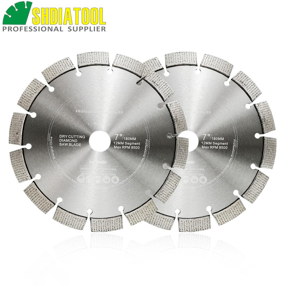 SHDIATOOL 2pcs 7inch 180mm Laser Welded Arrayed Diamond Blade Cutting Disc Saw Blade Hard Material Diamond