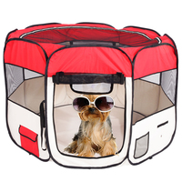 57 Folding Portable Dog Tent 600D Oxford Cloth Mesh Pet Playpen For Dogs 59cm*94cm Red SKU77011282